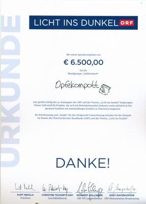 Urkunde - Spende Licht ins Dunkel 2012